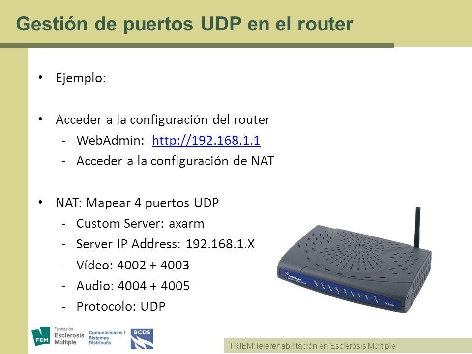 TRIEM:Telerehabilitación en Esclerosis Múltiple Gestión de puertos UDP en el router Ejemplo: Acceder a la configuración del router -WebAdmin: http://1
