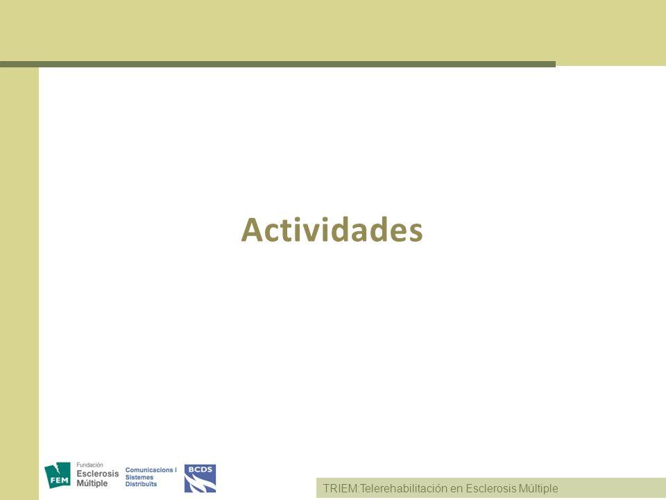 TRIEM:Telerehabilitación en Esclerosis Múltiple Actividades