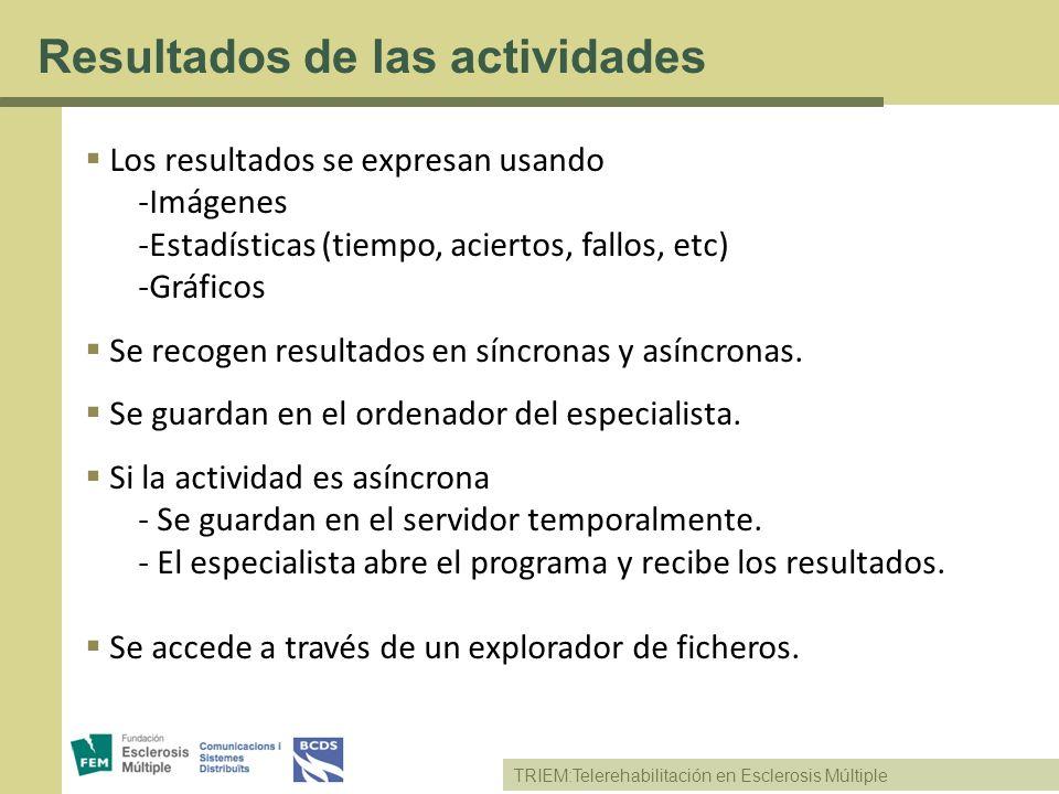 TRIEM:Telerehabilitación en Esclerosis Múltiple Resultados de las actividades Los resultados se expresan usando -Imágenes -Estadísticas (tiempo, acier