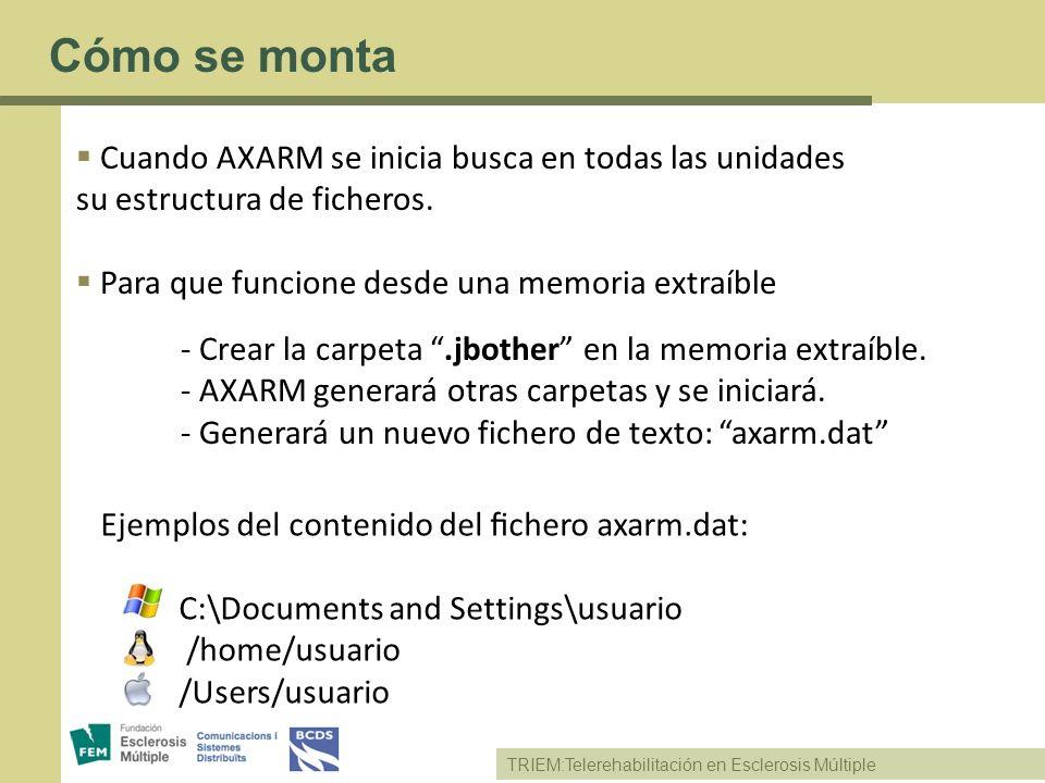 Ejemplos del contenido del chero axarm.dat: C:\Documents and Settings\usuario /home/usuario /Users/usuario TRIEM:Telerehabilitación en Esclerosis Múlt