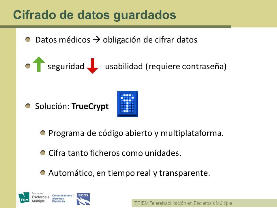 TRIEM:Telerehabilitación en Esclerosis Múltiple Cifrado de datos guardados Datos médicos obligación de cifrar datos seguridad usabilidad (requiere con
