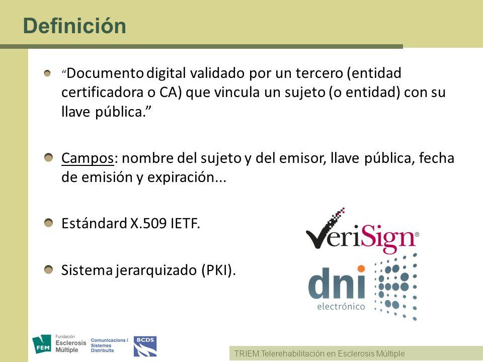 TRIEM:Telerehabilitación en Esclerosis Múltiple Definición Documento digital validado por un tercero (entidad certificadora o CA) que vincula un sujet