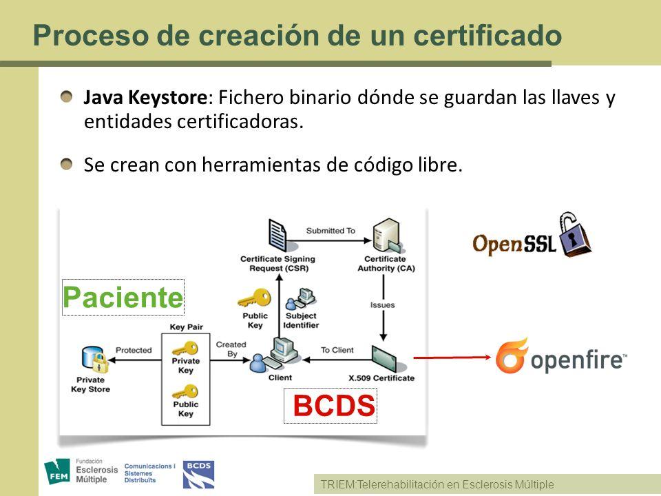TRIEM:Telerehabilitación en Esclerosis Múltiple Proceso de creación de un certificado Java Keystore: Fichero binario dónde se guardan las llaves y ent