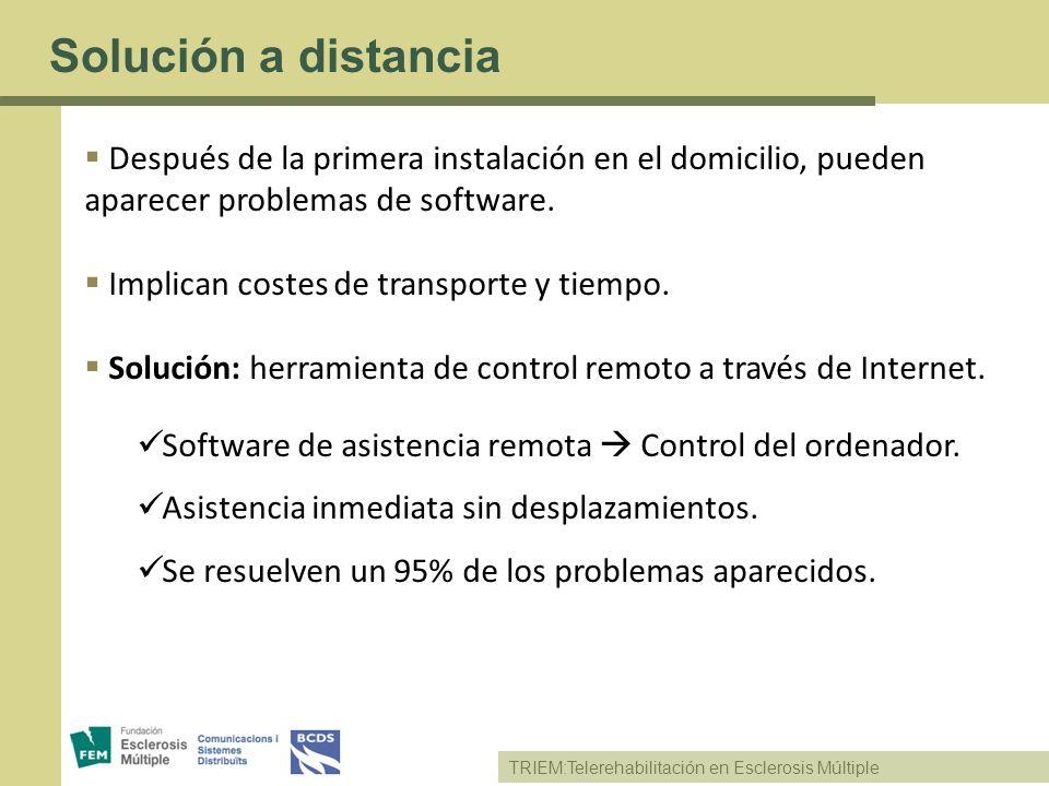 TRIEM:Telerehabilitación en Esclerosis Múltiple Solución a distancia Después de la primera instalación en el domicilio, pueden aparecer problemas de s