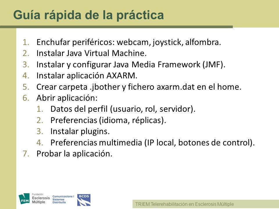 TRIEM:Telerehabilitación en Esclerosis Múltiple Guía rápida de la práctica 1.Enchufar periféricos: webcam, joystick, alfombra. 2.Instalar Java Virtual