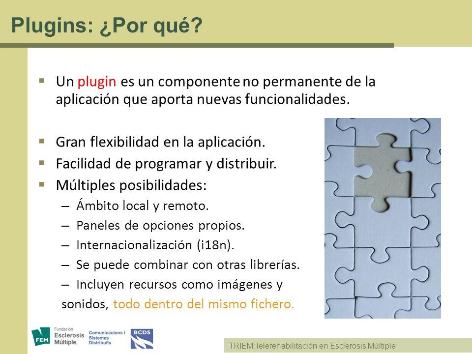 TRIEM:Telerehabilitación en Esclerosis Múltiple Plugins: ¿Por qué? Un plugin es un componente no permanente de la aplicación que aporta nuevas funcion