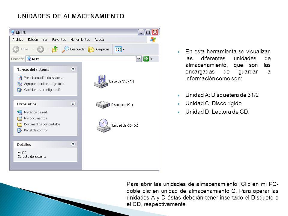 En esta herramienta se visualizan las diferentes unidades de almacenamiento, que son las encargadas de guardar la información como son: Unidad A: Disq