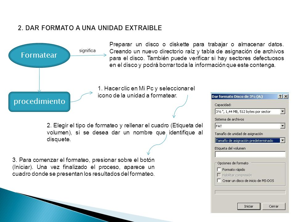 Formatear Preparar un disco o diskette para trabajar o almacenar datos. Creando un nuevo directorio raíz y tabla de asignación de archivos para el dis
