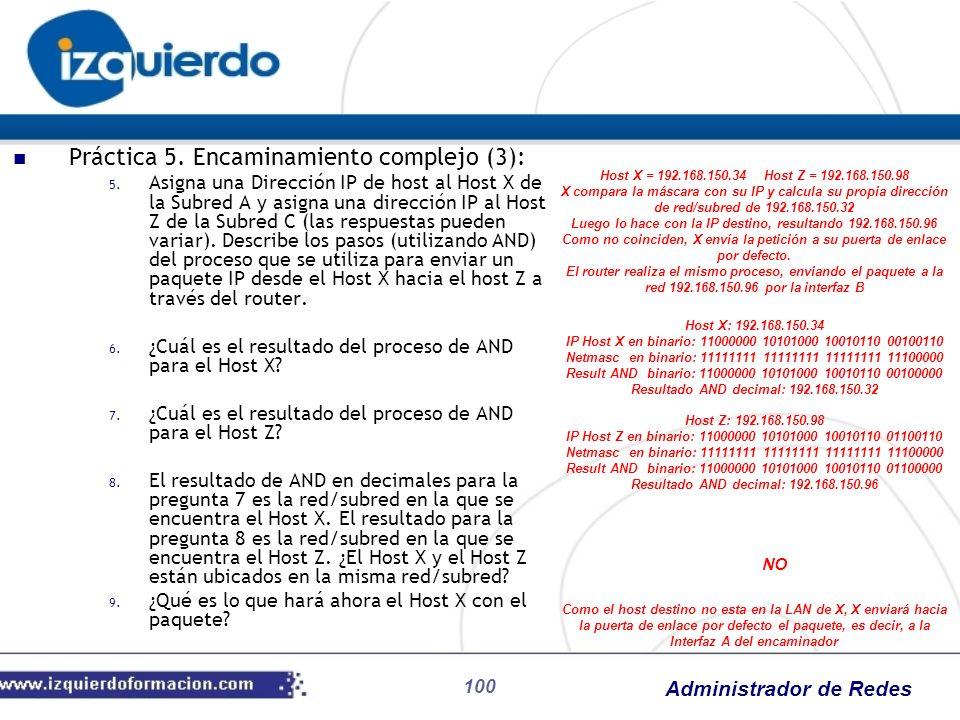 Administrador de Redes 100 Práctica 5. Encaminamiento complejo (3): 5. Asigna una Dirección IP de host al Host X de la Subred A y asigna una dirección