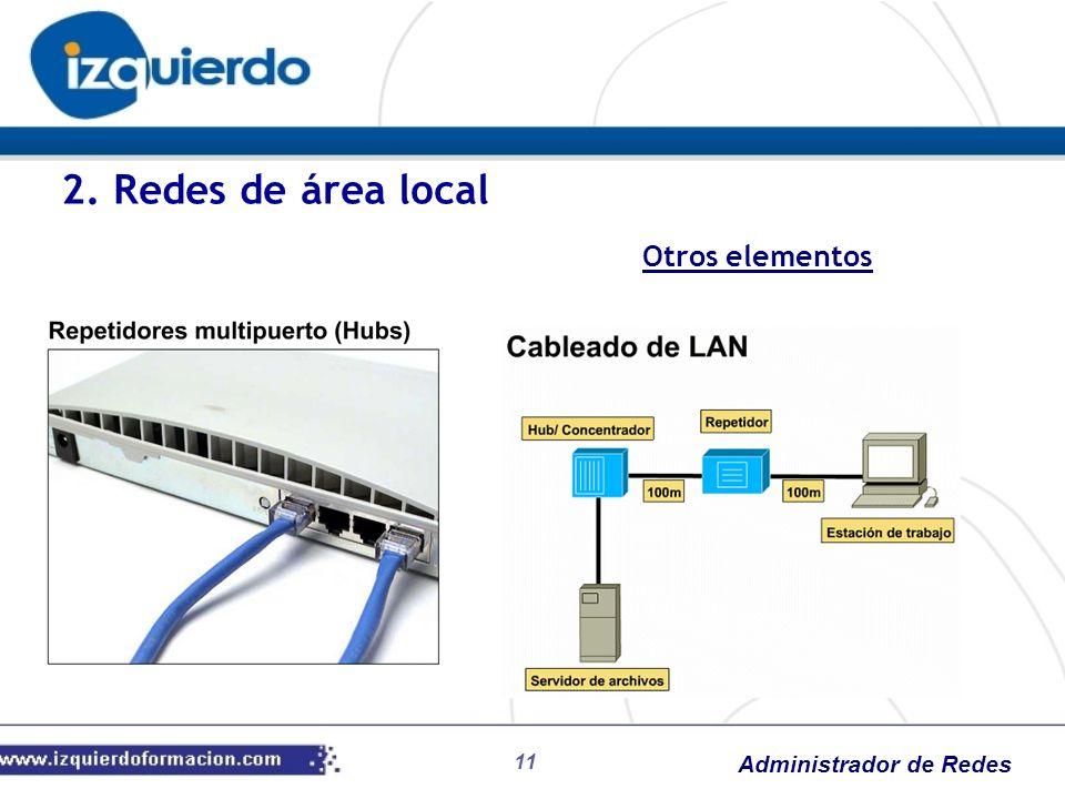 Administrador de Redes Otros elementos 2. Redes de área local 11