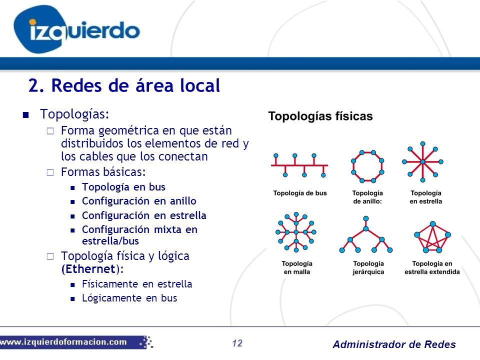 Administrador de Redes Topologías: Forma geométrica en que están distribuidos los elementos de red y los cables que los conectan Formas básicas: Topol