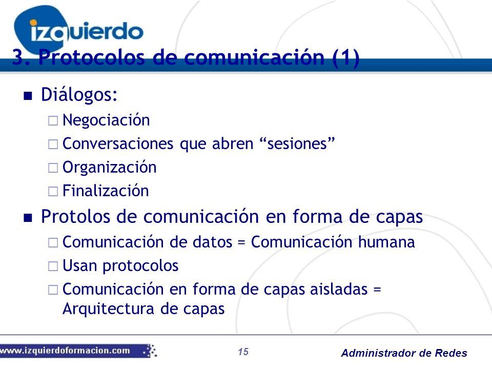Administrador de Redes 3. Protocolos de comunicación (1) Diálogos: Negociación Conversaciones que abren sesiones Organización Finalización Protolos de