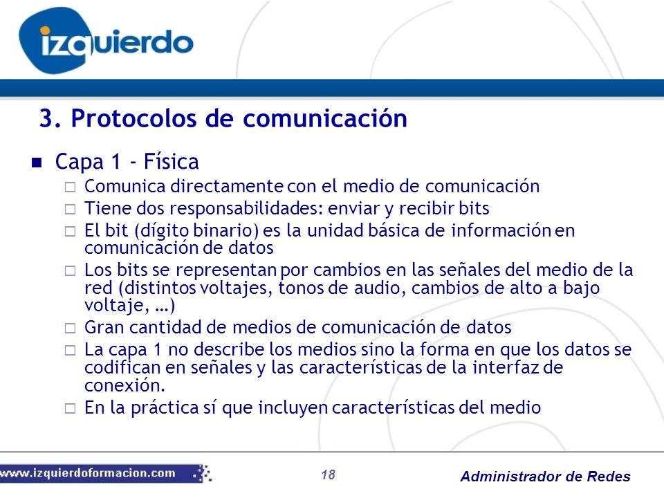 Administrador de Redes Capa 1 - Física Comunica directamente con el medio de comunicación Tiene dos responsabilidades: enviar y recibir bits El bit (d