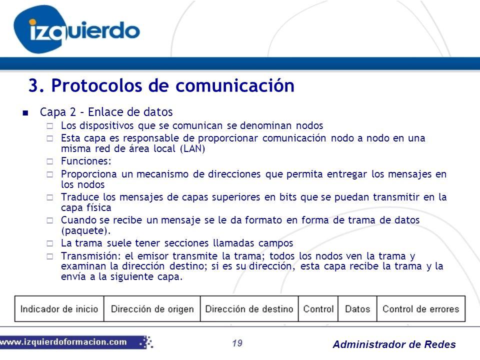 Administrador de Redes Capa 2 – Enlace de datos Los dispositivos que se comunican se denominan nodos Esta capa es responsable de proporcionar comunica