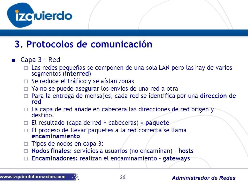 Administrador de Redes Capa 3 – Red Las redes pequeñas se componen de una sola LAN pero las hay de varios segmentos (interred) Se reduce el tráfico y