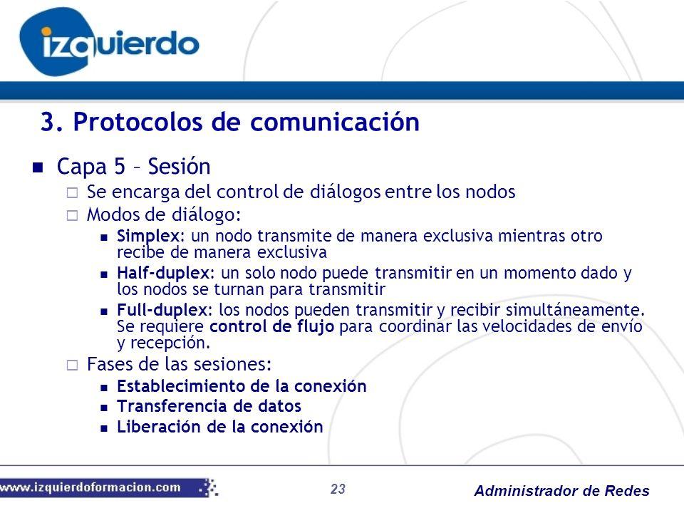 Administrador de Redes Capa 5 – Sesión Se encarga del control de diálogos entre los nodos Modos de diálogo: Simplex: un nodo transmite de manera exclu