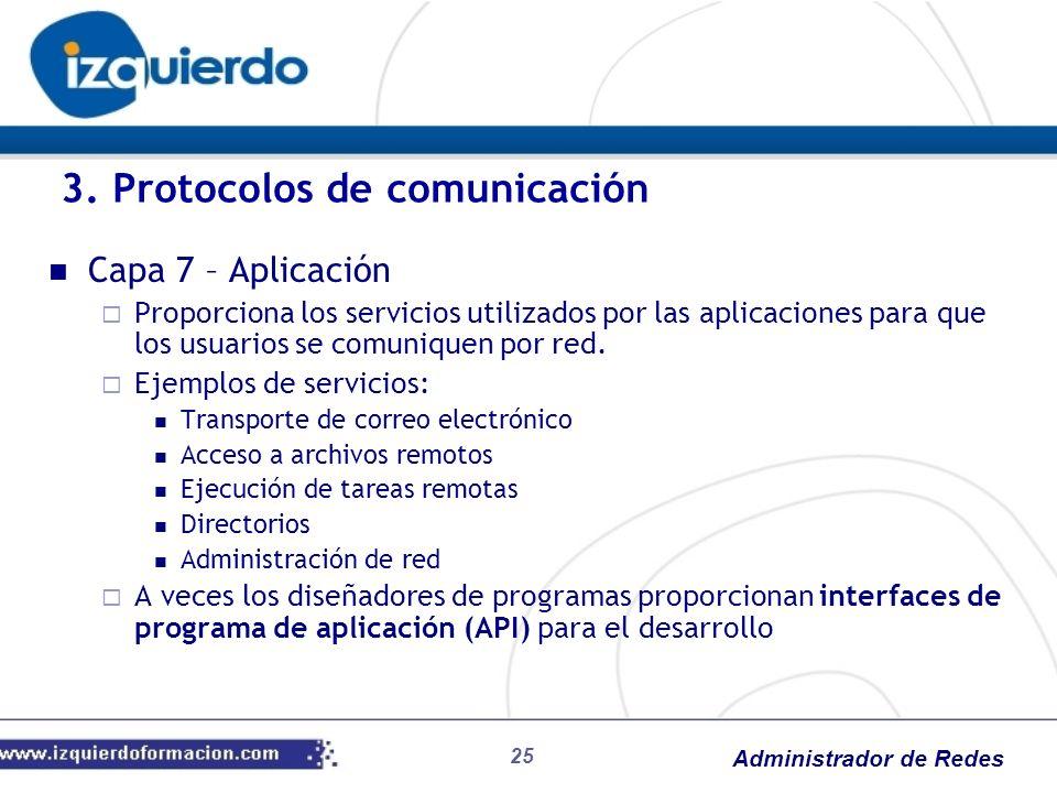 Administrador de Redes Capa 7 – Aplicación Proporciona los servicios utilizados por las aplicaciones para que los usuarios se comuniquen por red. Ejem