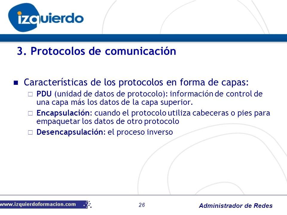 Administrador de Redes Características de los protocolos en forma de capas: PDU (unidad de datos de protocolo): información de control de una capa más