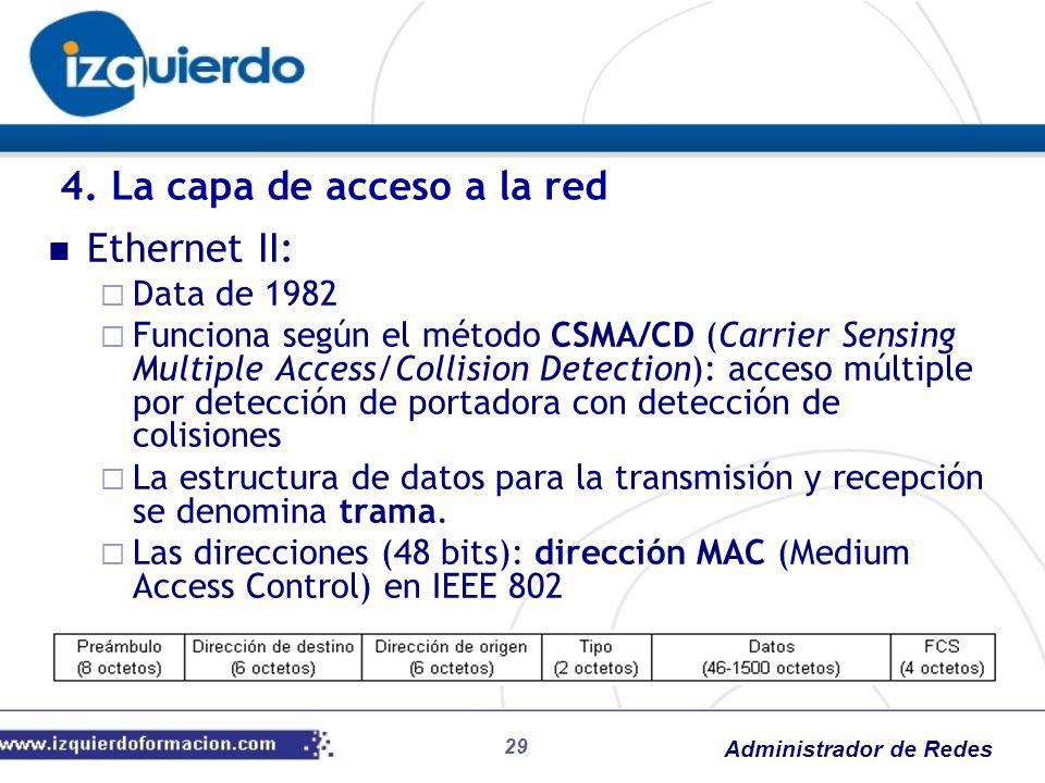 Administrador de Redes Ethernet II: Data de 1982 Funciona según el método CSMA/CD (Carrier Sensing Multiple Access/Collision Detection): acceso múltip