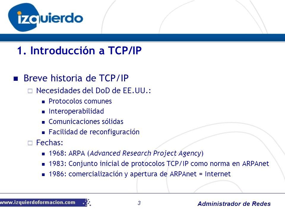 Administrador de Redes Breve historia de TCP/IP Necesidades del DoD de EE.UU.: Protocolos comunes Interoperabilidad Comunicaciones sólidas Facilidad d