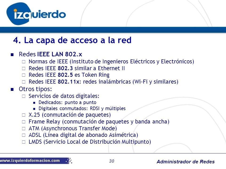 Administrador de Redes Redes IEEE LAN 802.x Normas de IEEE (Instituto de Ingenieros Eléctricos y Electrónicos) Redes IEEE 802.3 similar a Ethernet II