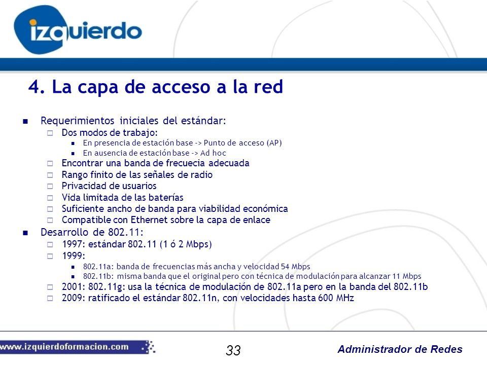 Administrador de Redes Requerimientos iniciales del estándar: Dos modos de trabajo: En presencia de estación base -> Punto de acceso (AP) En ausencia