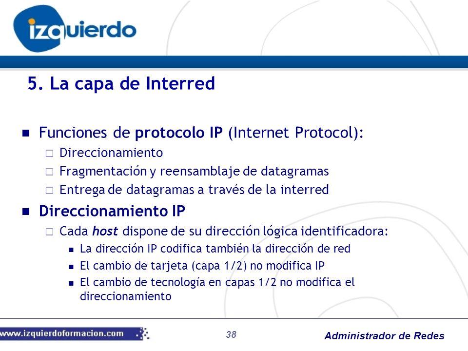 Administrador de Redes Funciones de protocolo IP (Internet Protocol): Direccionamiento Fragmentación y reensamblaje de datagramas Entrega de datagrama