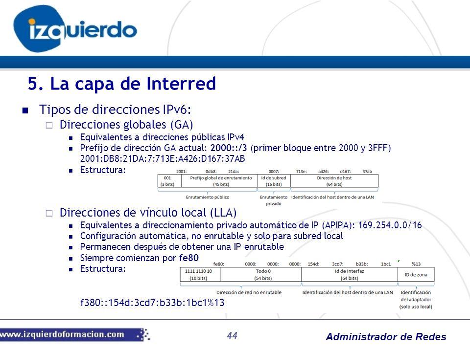 Administrador de Redes 5. La capa de Interred Tipos de direcciones IPv6: Direcciones globales (GA) Equivalentes a direcciones públicas IPv4 Prefijo de