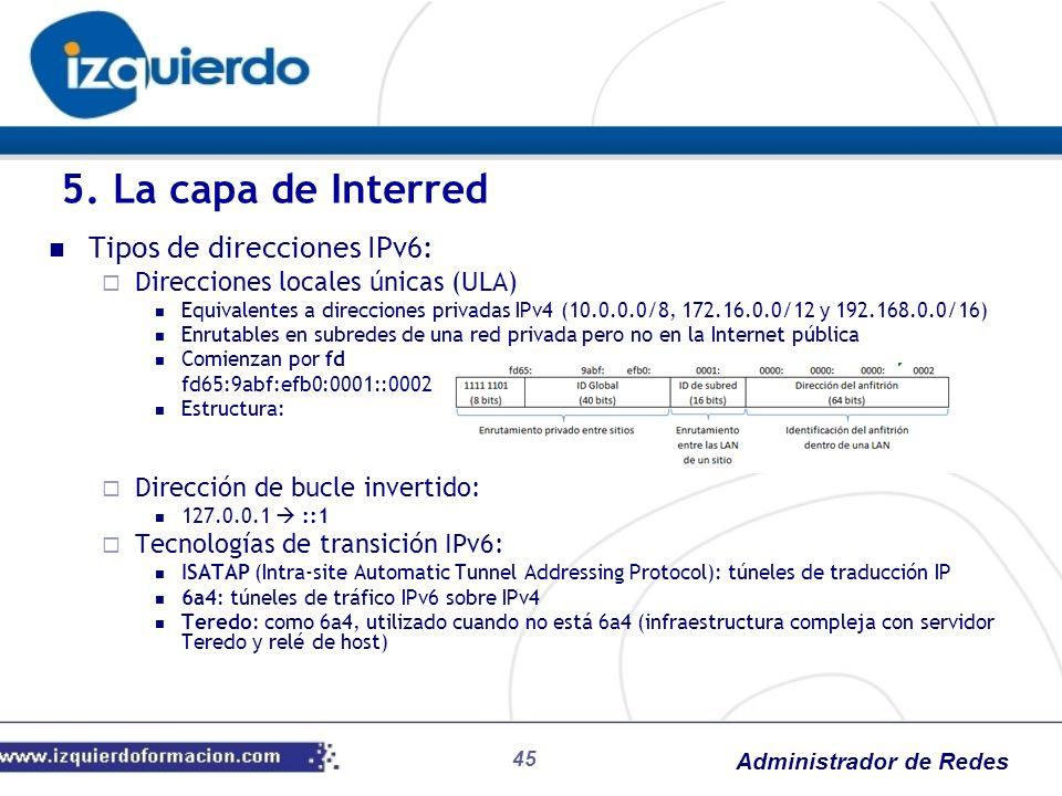 Administrador de Redes Tipos de direcciones IPv6: Direcciones locales únicas (ULA) Equivalentes a direcciones privadas IPv4 (10.0.0.0/8, 172.16.0.0/12
