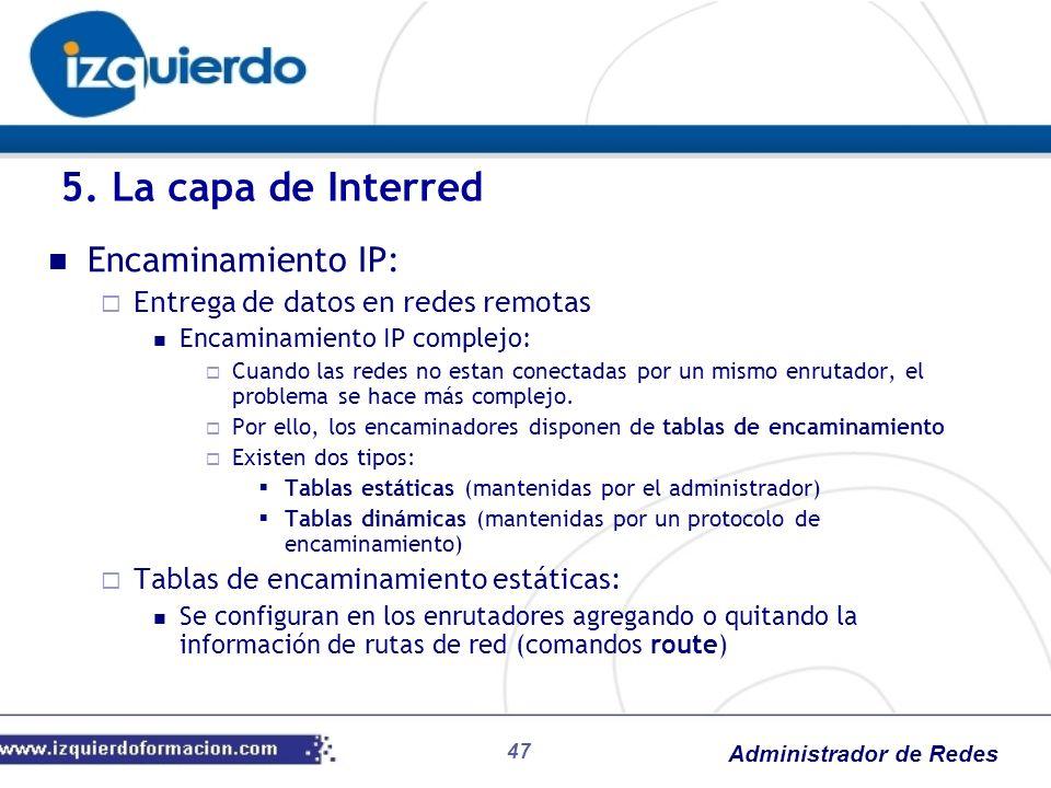 Administrador de Redes Encaminamiento IP: Entrega de datos en redes remotas Encaminamiento IP complejo: Cuando las redes no estan conectadas por un mi