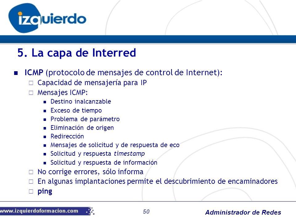 Administrador de Redes ICMP (protocolo de mensajes de control de Internet): Capacidad de mensajería para IP Mensajes ICMP: Destino inalcanzable Exceso