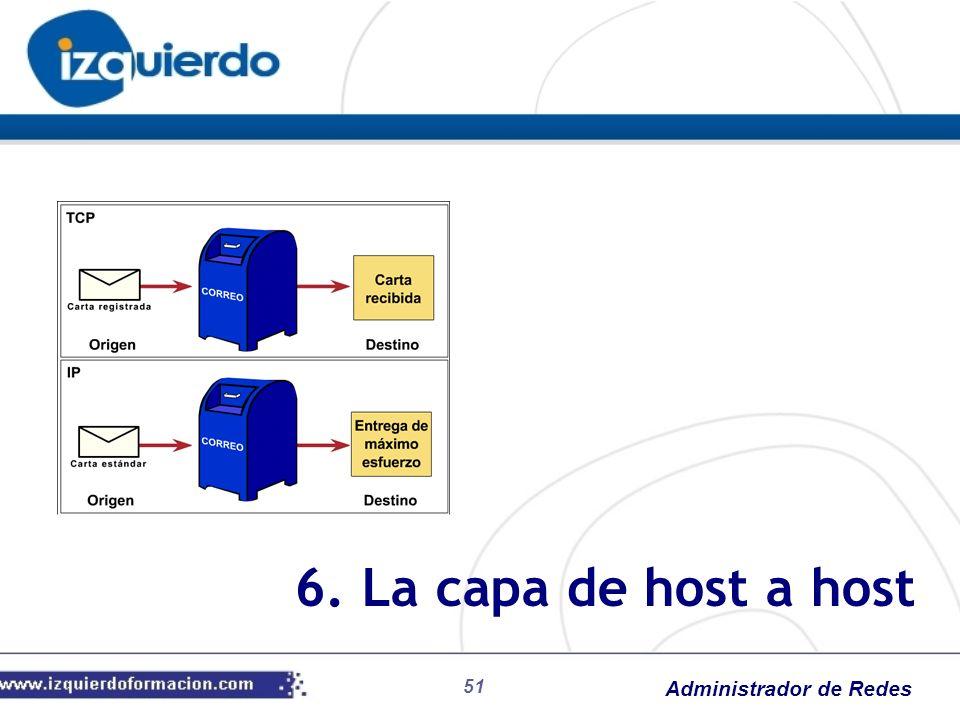 Administrador de Redes 6. La capa de host a host 51
