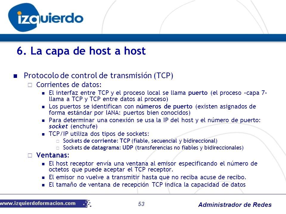 Administrador de Redes Protocolo de control de transmisión (TCP) Corrientes de datos: El interfaz entre TCP y el proceso local se llama puerto (el pro