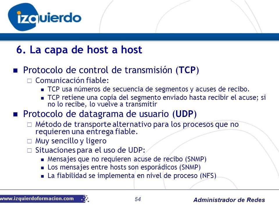 Administrador de Redes Protocolo de control de transmisión (TCP) Comunicación fiable: TCP usa números de secuencia de segmentos y acuses de recibo. TC