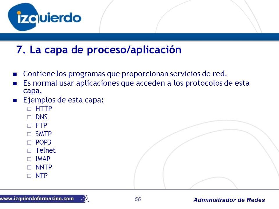 Administrador de Redes Contiene los programas que proporcionan servicios de red. Es normal usar aplicaciones que acceden a los protocolos de esta capa