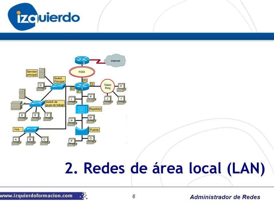 Administrador de Redes Redes de área local (LAN o RAL) Son estructuras de hardware y software que permiten la comunicación de datos Nacen de la necesidad de compartir recursos (impresoras, directorios, información, …) Dos tipos fundamentales: Redes igualitarias: no existe el concepto de servidor (todas las estaciones son iguales) Redes Cliente/Servidor: uno o varios dispositivos gestionan gran parte de los servicios Arquitectura Cliente/Servidor Ordenador dedicado que permite compartir periféricos con otros ordenadores: Servidor de archivos Servidor de impresión Servidor de comunicaciones Servidor de correo electrónico El resto se les llama estaciones de trabajo 2.