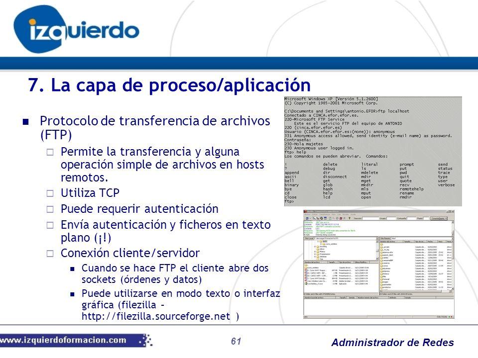 Administrador de Redes Protocolo de transferencia de archivos (FTP) Permite la transferencia y alguna operación simple de archivos en hosts remotos. U