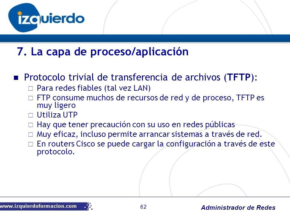 Administrador de Redes Protocolo trivial de transferencia de archivos (TFTP): Para redes fiables (tal vez LAN) FTP consume muchos de recursos de red y