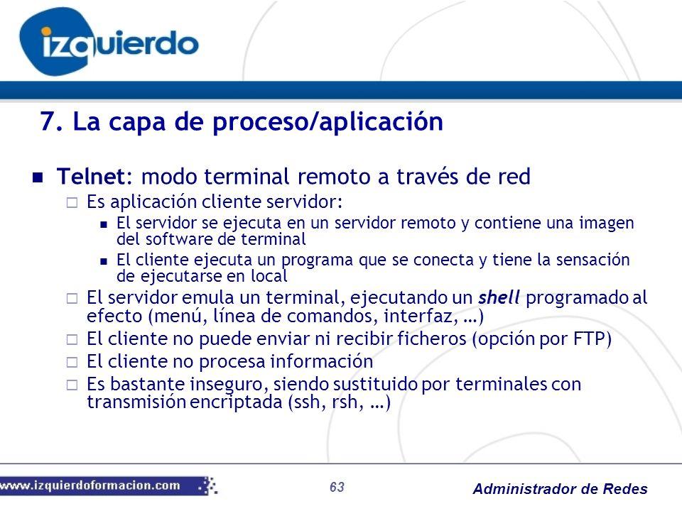 Administrador de Redes Telnet: modo terminal remoto a través de red Es aplicación cliente servidor: El servidor se ejecuta en un servidor remoto y con