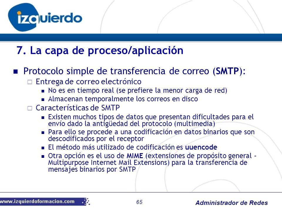 Administrador de Redes Protocolo simple de transferencia de correo (SMTP): Entrega de correo electrónico No es en tiempo real (se prefiere la menor ca