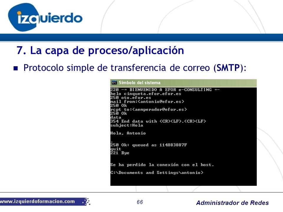 Administrador de Redes Protocolo simple de transferencia de correo (SMTP): 7. La capa de proceso/aplicación 66