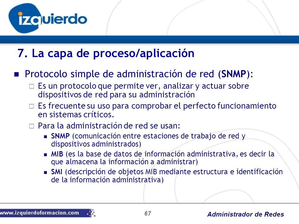 Administrador de Redes Protocolo simple de administración de red (SNMP): Es un protocolo que permite ver, analizar y actuar sobre dispositivos de red