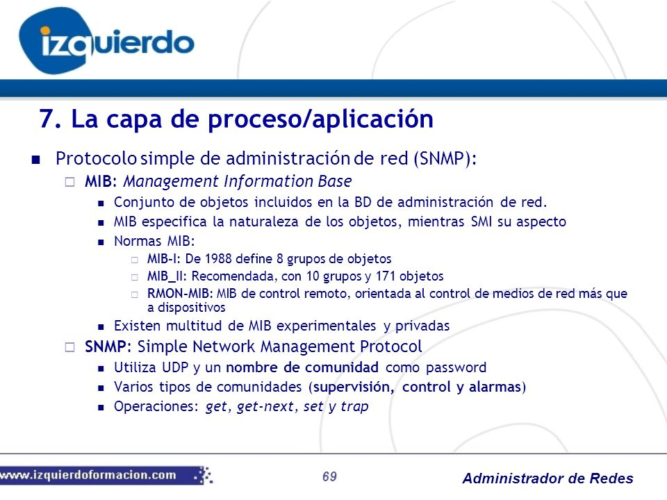 Administrador de Redes Protocolo simple de administración de red (SNMP): MIB: Management Information Base Conjunto de objetos incluidos en la BD de ad