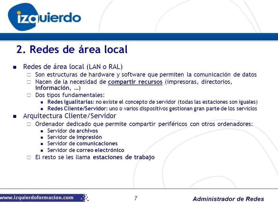 Administrador de Redes Redes de área local (LAN o RAL) Son estructuras de hardware y software que permiten la comunicación de datos Nacen de la necesi