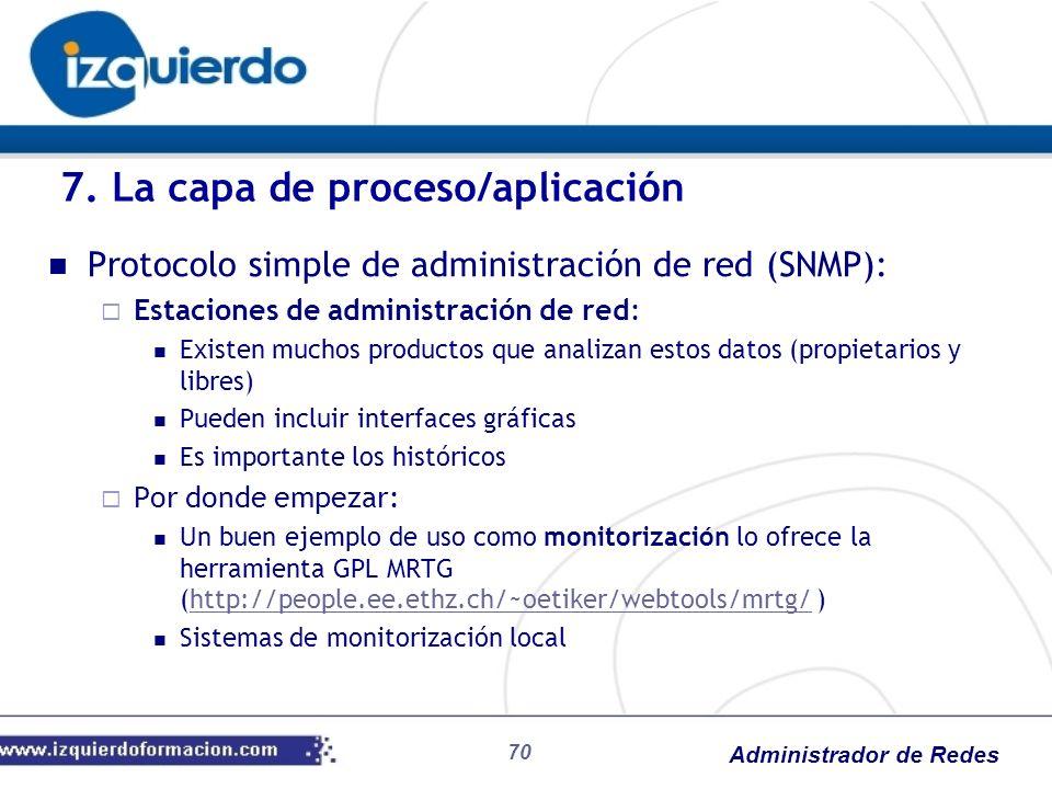Administrador de Redes Protocolo simple de administración de red (SNMP): Estaciones de administración de red: Existen muchos productos que analizan es