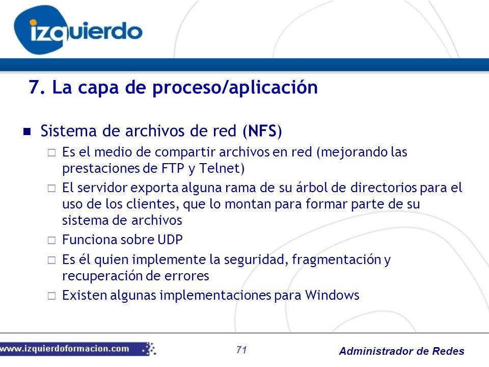 Administrador de Redes Sistema de archivos de red (NFS) Es el medio de compartir archivos en red (mejorando las prestaciones de FTP y Telnet) El servi