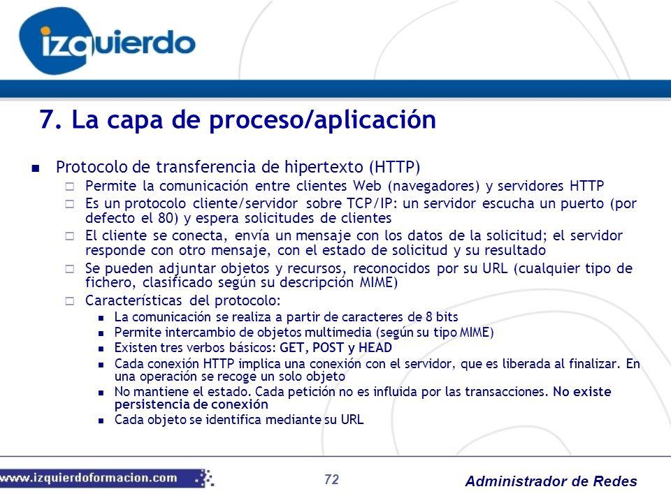 Administrador de Redes Protocolo de transferencia de hipertexto (HTTP) Permite la comunicación entre clientes Web (navegadores) y servidores HTTP Es u