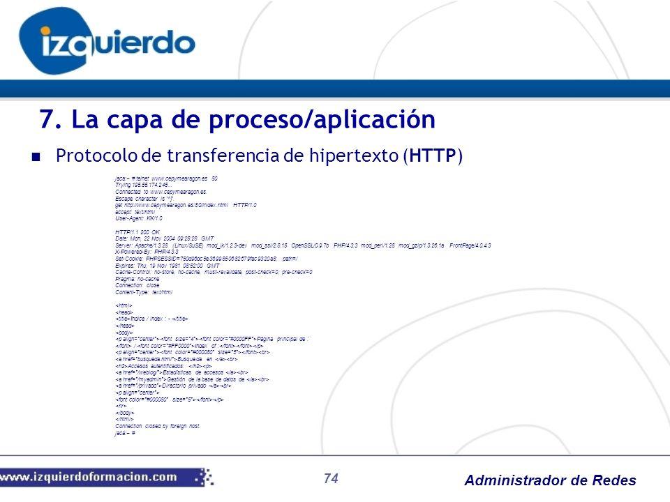 Administrador de Redes Protocolo de transferencia de hipertexto (HTTP) jaca:~ # telnet www.cepymearagon.es 80 Trying 195.55.174.245... Connected to ww