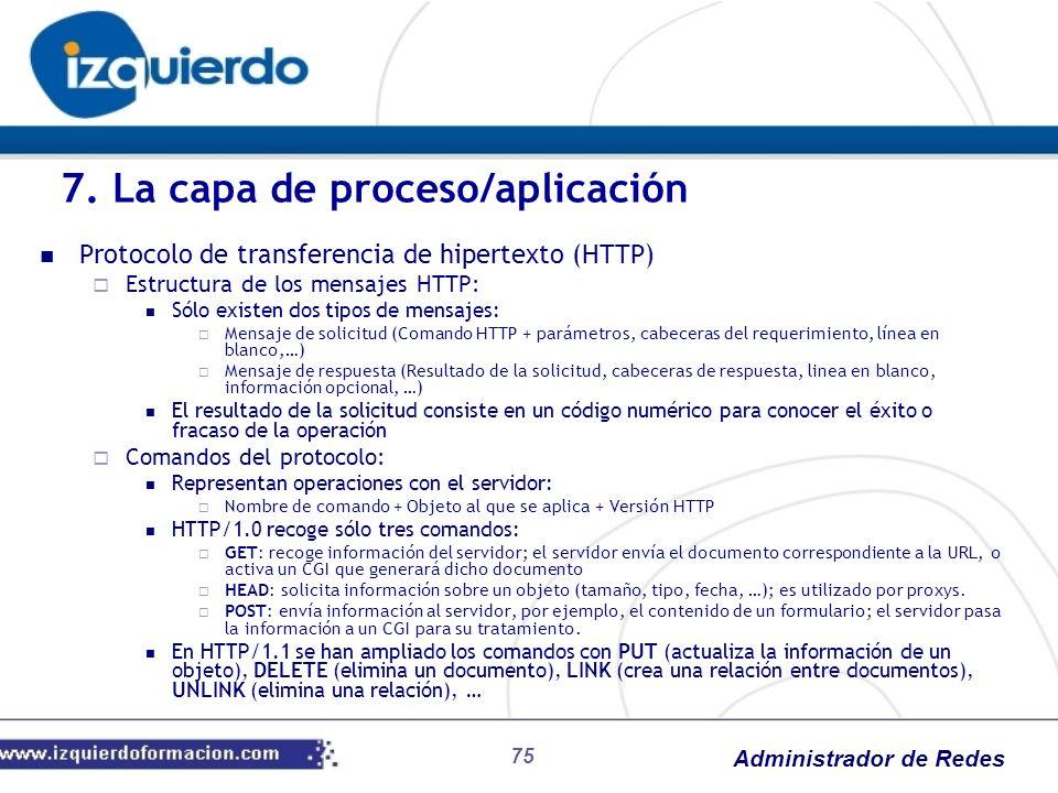 Administrador de Redes Protocolo de transferencia de hipertexto (HTTP) Estructura de los mensajes HTTP: Sólo existen dos tipos de mensajes: Mensaje de