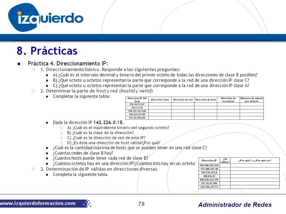 Administrador de Redes 79 Práctica 4. Direccionamiento IP: 1. Direccionamiento básico. Responde a las siguientes preguntas: A) ¿Cuál es el intervalo d